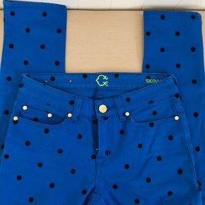 C wonder Blue black polka dot skinny jeans 24